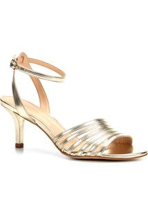 Sandália Shoestock Tiras Diagonais Metalizada Feminina - Feminino-Dourado