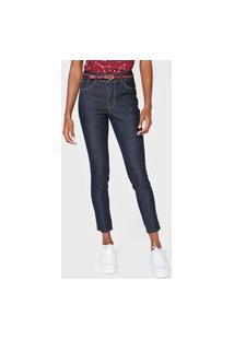 Calça Jeans Mercatto Skinny Pespontos Azul-Marinho