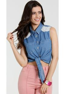 Camisa Feminina Jeans Renda Tiras Marisa