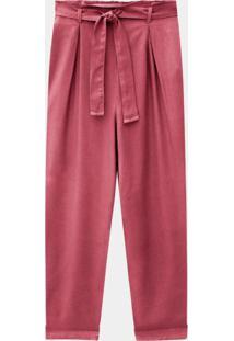 Calça Rayon Com Cinto Rosa