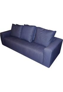 Sofa Domo Com 3 Lugares Assento Linho Azul Escuro Base Madeira - 51522 Sun House
