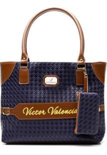 Bolsa Alice Monteiro Victor Valência De Ombro Com Porta Moedas - Feminino-Azul
