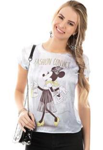 Blusa Com Estampa Sublimática Branco Minnie