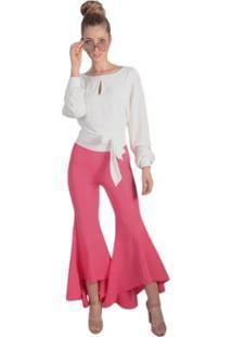Calça Crepe Super Flare Pop Me Feminina - Feminino-Pink