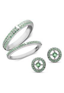 Conjunto Anéis E Brinco Redondo Life Glam Verde