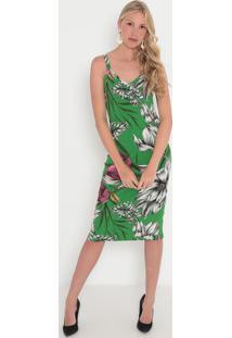 Vestido Canelado- Verde & Branco- Sommersommer