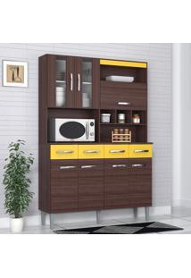 Cozinha Compacta 7 Portas 4 Gavetas Melissa 6280 Capuccino/Amarelo - Poquema