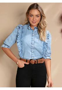 Blusa Jeans Com Babados Gola, Frente E Mangas