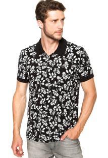 Camisa Polo Colcci Floral Preta