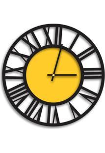 Relógio De Parede Decorativo Premium Vazado Números Romanos Preto Ônix Com Detalhe Amarelo Médio