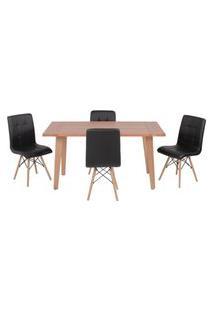 Conjunto Mesa De Jantar Em Madeira 150X80 Vértice + 4 Cadeiras Gomos - Preto