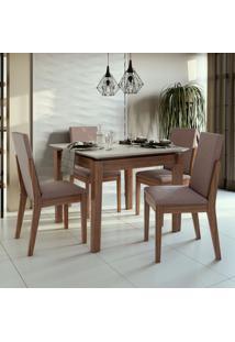 Conjunto De Mesa De Jantar Aries Com 4 Cadeiras Lira Velvet Off White E Rosê