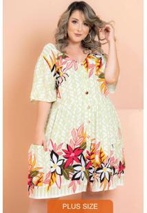 Vestido Rayon Poplin Flores Verde Plus Size