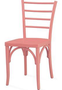 Cadeira Moderna De Madeira Charlotte Laca Rosa Coral - 40,5X49X88 Cm