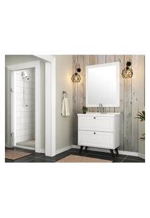 Conjunto Banheiro Com 2 Gavetas Branco Em Mdf Lilies Móveis