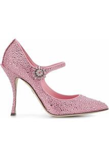 Dolce & Gabbana Sapato Mary Jane Lori De Couro - Rosa