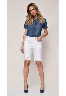 Bermuda Jeans Express Meia Coxa Color Mayla - Feminino-Branco