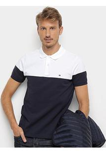 Camisa Polo Tommy Hilfiger Pieced Colorblock Masculina - Masculino-Azul+Branco