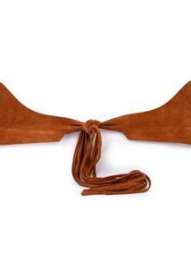 Cinto Cintura Largo Com Amarracao Caramelo