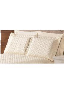 Fronha Para Travesseiro Plumasul Em Percal Matelassê Com Abas 200 Fios 50 X 150 Cm – Bege/Marrom