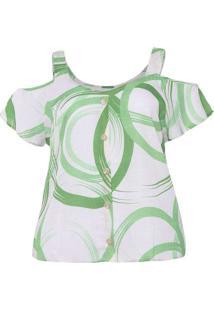Blusa Estampada Almaria Plus Size Peri Verde