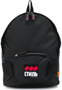 Heron Preston Logo Printed Backpack - Preto