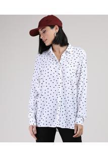 Camisa Feminina Estampada De Poá Com Bolso Manga Longa Off White