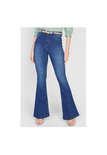 Calça Jeans Dzarm Flare Estonada Azul