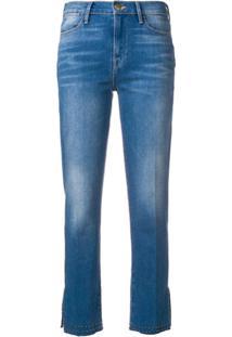 Frame Calça Jeans Slim Cropped Com Tachas - Azul