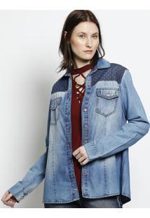 Camisa Jeans Matelass㪠- Azulscalon