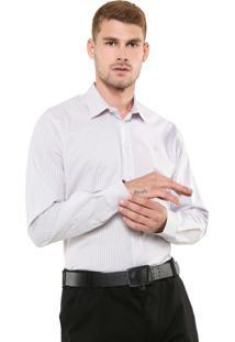 Camisa Forum Reta Listrada Branca/Cinza