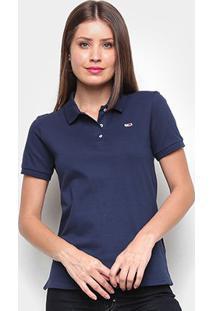 Camisa Polo Tommy Jeans Classics Feminina - Feminino-Azul+Marinho