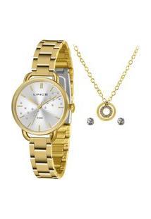 Kit Relógio Feminino Lince Analógico Dourado - Lrgh157L-Kz65S1K Dourado