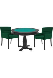 Mesa De Jogos Carteado Victoria Redonda Tampo Reversível Preto Com 2 Cadeiras Vicenza Verde - Gran Belo