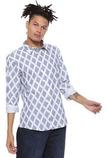Camisa Cavalera Geométrica Branca/Azul