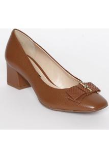 Sapato Tradicional Em Couro Com Laço & Strass- Marrom
