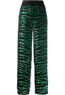 P.A.R.O.S.H. Calça Cintura Alta Com Paetês - Verde