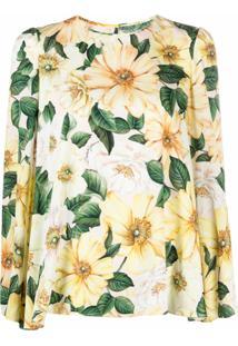 Dolce & Gabbana Blusa De Seda Com Estampa - Neutro