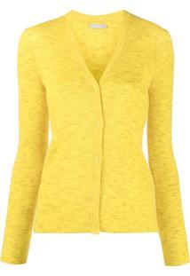 12 Storeez Cardigan Gola V Canelado - Amarelo