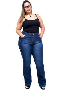 Calça Jeans Xtra Charmy Plus Size Flare Luciellen Azul - Kanui