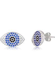 Brinco Olho Grego Repleto De Zircônias Brancas E Azuis Em Prata - 2180000001788