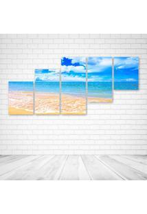 Quadro Decorativo - Mar Praia - Composto De 5 Quadros - Multicolorido - Dafiti