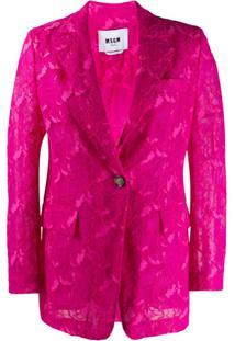 Msgm Blazer Abotoamento Simples Com Renda Floral - Rosa