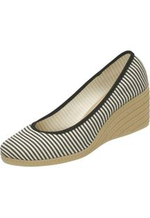 Sapato Anabela Listrado- Branco & Preto- Salto: 6Cm