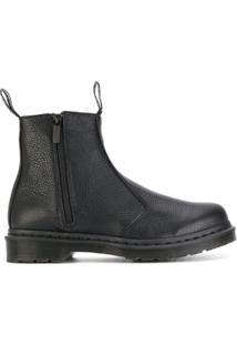 Dr. Martens Ankle Boot De Couro Texturizado - Preto