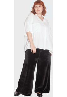 Calça Pantalona Veludo Plus Size Preto