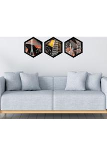 Kit 3 Quadros Com Moldura Hexagonal World Red