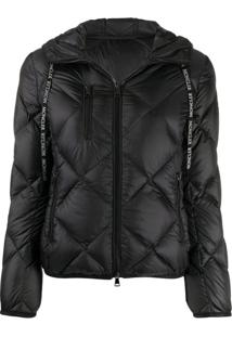 Moncler Diamond-Quilted Hooded Jacket - Preto