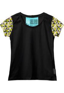 Camiseta Baby Look Feminina Algodão Estampa Casual Estilo - Feminino-Preto+Dourado