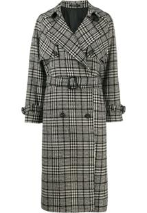 Tagliatore Checked Trench Coat - Preto